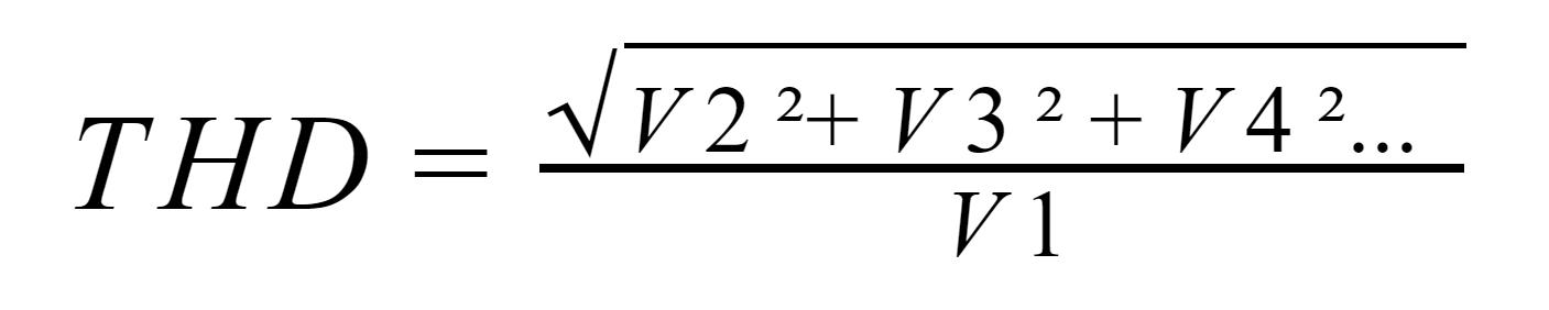 Distorção Harmônica Total, onde: V1 é a frequëncia fundamental e V2, V3 e V4 são os demais harmônicos