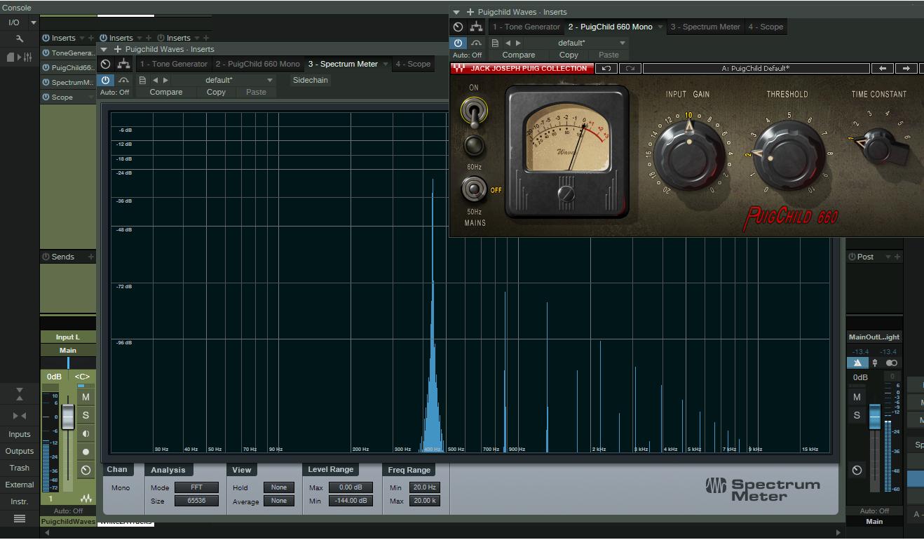 Distorção harmônica total do plugin Puigchild da Waves. Note que, mesmo com o circuito de compressão desativado, já há distorção harmônica.
